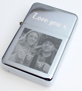 Personalised lighter photo logo message name engraved gift Birthday Fathers day