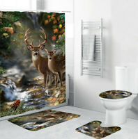 Deer Bathroom Rug Set Shower Curtain Thicken Bath Mat Non-Slip Toilet Lid Cover