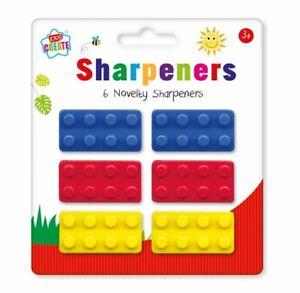 6 x Novelty Pencil sharpeners shape of Lego Building Brick Kids Party Bag Filler
