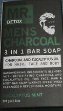 MR. DETOX Mens Charcoal & Eucalyptus Oil 3 in 1 Bar Soap for Hair/Face & Body