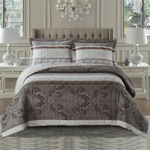 Callisto Taupe Reversible Lightweight Bedspread Over-Sized 3pc Quilt Set