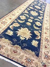 "2'.9"" X 9'.8"" Blue Beige Oushak Persian Oriental Rug Runner Hand Knotted Wool"