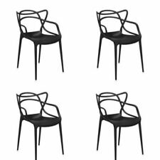 SET OF 4 KARTELL INSPIRED MASTERS DINING CHAIRS BY PHILLIPPE STARCK in Black