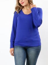 Zenana Signature 2X Stretch Cotton Blend Jersey Knit L/S V Neck Tee Top Royal