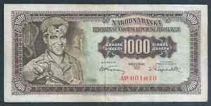 YUGOSLAVIA 1000 dinars P71a 1-Maj-1955  EF