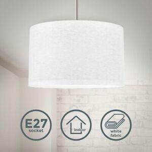 Pendelleuchte Stoff Textil Lampenschirm Deckenlampe Esstisch Wohnzimmer E27 weiß