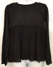 Bella Dahl Shirt Black Baby Doll LS Frayed Trim  NWT Size Xs
