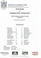 Team Sheet:  Fulham v Charton Athletic 11.8.99