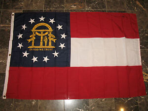 4x6 ft Georgia sewn 2ply State Flag- Double Sided Seal 4'x6' grommets