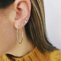 Women Large Ear Hoops Flower Pendant Rhinestone Jewelry Wedding Earrings Set JA