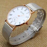 Silver Stainless Steel Mesh Band Simple Dial Quartz Wrist Watch Womens Mens Q10