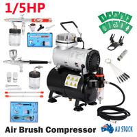 1/5HP Air Brush Compressor 5/7/22cc Airbrush Dual Action Spray Gun Kit AU Stock