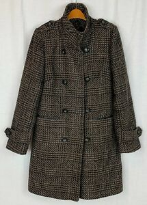 M&S AUTOGRAPH Womens Brown Wool Check Winter Coat Size 10
