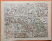 SCHLESIEN Breslau Kattowitz Waldenburg historische Landkarte 1909 Riesengebirge