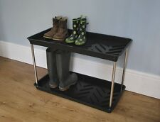 2 TIER SHOE AND WELLINGTON BOOT RACK TRAY WELLY BOOT STORAGE STAND