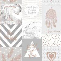 Life Is Beautiful Collage Papier Peint Rouleaux Gris/Doré Rose - Holden 90051