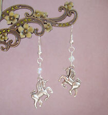 Pretty 3D Unicorn Charm AB Crystal Dangly Earrings - Faerie Fantasy Myth Magic
