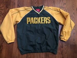 Green Bay Packers NFL Team Apparel Pullover Lightweight Lined Jacket Men's Large