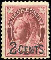 Canada #87 mint F-VF OG NH 1899 Queen Victoria 2c on 3c  Maple Leaf Provisional