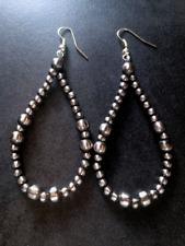 Navajo Pearl Earrings Large Dramatic Hoops ~