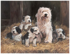 "OLD ENGLISH SHEEPDOG DULUX DOG FINE ART LIMITED EDITION PRINT ""Family Values"""