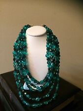 Vintage Hong Kong Signed Multi 5 Strand Green Plastic Bead Choker Necklace