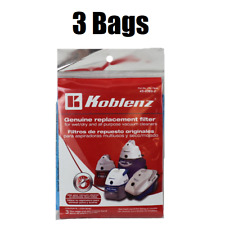 (3) Koblenz Wet / Dry Vacuum Cleaner Filter Bags 45-0389-2 GENUINE