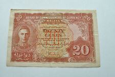 BRITISH MALAYA 1941  20 CENTS BEAUTIFUL RARE BANK NOTE VF