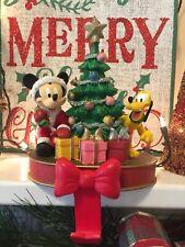 RARE DISNEY Mickey & Pluto Christmas Tree Stocking Holder Hanger Excellent 45243