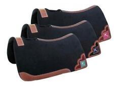 "Showman ® 32"" X 31"" x 1"" Black Felt Saddle Pad Teal W/ Beaded Cross Inlay Horse"