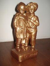 statue sculpture signée BACCI France, dorée, numérotée, LE SECRET . H.27 cm