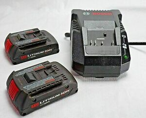 BOSCH BC660 Battery Charger With 2x 18V Li-ion Slim Pack Batteries
