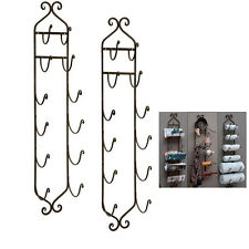"Tuscan Bath Towel Rack Bathroom Wall Mount Wine Holder Iron 41"" 6 Tier Set of 2"