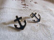 Silver Tone & Blue Enamel Anchor Stud Earrings - 1.6cm long