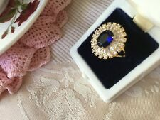 Antique Victorian Jewellery Gold Ring with Sapphires Vintage Dress Jewelry