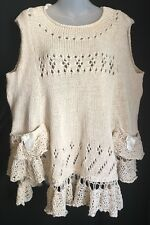 NEW Elisabeth Delaunay Sweater Vest Sz Large Hand Knit Cream France $350
