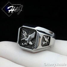 BIKER MEN's Stainless Steel Silver Black EAGLE Square Ring*BR122