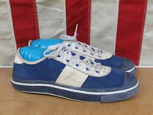 Vintage 1970s Keds 'Streaks' Canvas Sneakers Blue/White Athletic Shoes Sz.5