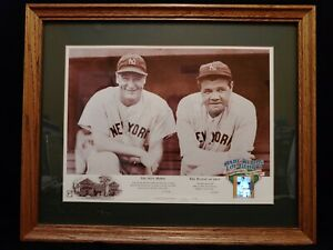Cooperstown Collection Babe Ruth & Lou Gehrig Lithograph Lighted Film Cel Framed