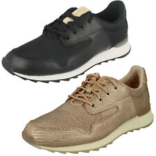 Ladies Clarks Floura Mix Black Or Blush Pink Leather Casual Lace Up Trainers