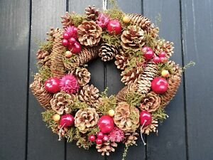"""12"""" /30cm Dried Natural Wreath Pine cones & faux cherry n berry"""