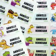 80 Dinosaur Waterproof Name Stickers Label Daycare Preschool Animal Jurassic Boy