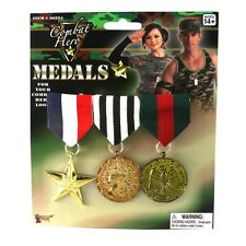 Costume Military Ribbon Hanging Medals 3 Medal Set Dictator Costume Accessory