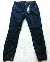 bebe Women's Charming Diamond Pick Ankle Zip Jeans Size 29 Crop