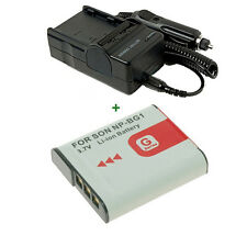 Battery PACK + Charger for Lithium-Ion G Sony Cybershot DSC-W100 DSC-W200 NP-BG1