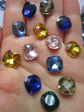 8 verre pointu dos strass cabochons, back FLATED, à facettes Sqaure chatons