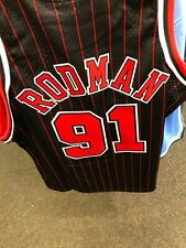 Dennis Rodman Mens Mitchell & Ness NBA Swingman  Jersey Chicago Bulls BLACK/RED