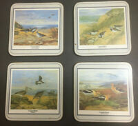 VINTAGE COASTAL BIRDS COASTER SET LOT OF 4