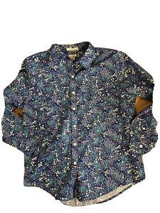 LL Bean Womens Top Medium M Blue Button Down Blouse Long Sleeves Cotton Shirt