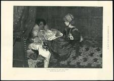 1888-FINE ART PRINT Alma Tadema toujours Bienvenue woamn child malade lit (136)